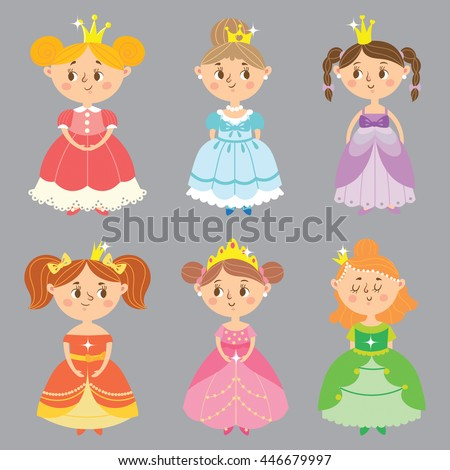 ?ollection of beautiful princesses. Set of pretty lady. Vector illustration