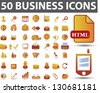 50 orange business icons set, vector - stock vector
