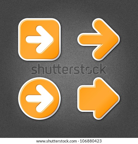 4 orange sticker arrow sign web icon. Smooth internet button with drop shadow on gray background with noise effect. This vector illustration clip-art design element saved in 10 eps
