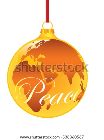 'Peace on Earth' A Christmas Ornament Shaped like a Globe with 'Peace' in a Script font written on it.  Isolated on White