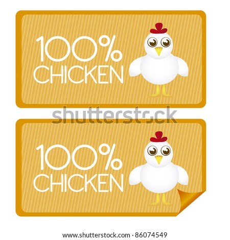 100 percent chicken tags and stickes with chicken cartoon. vector