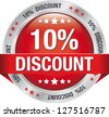 10 percent discount red button isolated background - stock photo