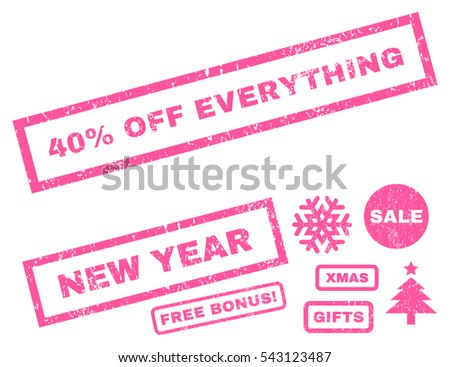 40 Percent Off Everything rubber seal stamp watermark with additional banners for Christmas and New Year sales. Text inside rectangular shape with grunge design and dirty texture. Vector pink emblems.