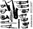 17 pieces of detailed vectoral brass instrument silhouettes. - stock vector