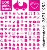 100 pink icons - easy edit vector - stock vector