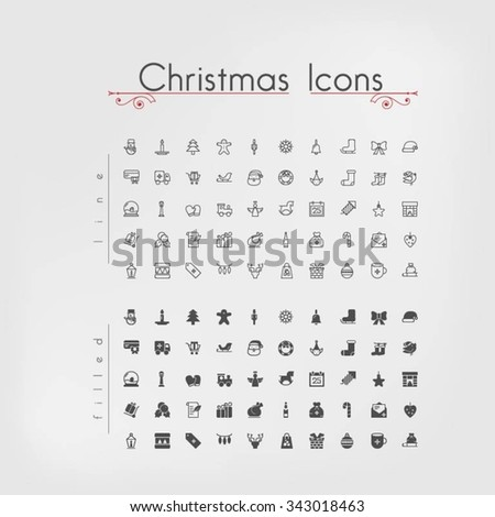 Pixel perfect Christmas icons. Line and filled.