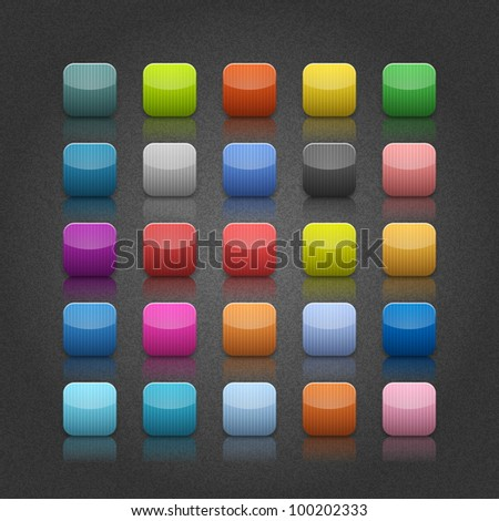 25 popular color blank web button. Striped rounded square shape with black shadow on gray backgrounds with noise texture effect. Vector 10 eps.