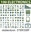 100 professional electronics signs. vector - stock vector