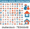 100 real estate & construction icons, signs, vector illustrations - stock vector