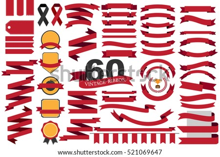 60 retro red ribbons and labels.illustration eps10