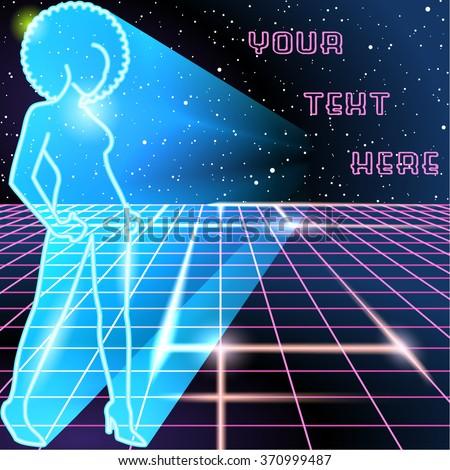 80s retro futurism scifi background stock illustration for Www dreamhome com