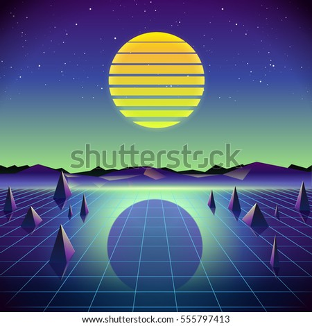 80s Retro Sci-Fi Background. Vector retro futuristic synth retro wave illustration in 1980s posters style.