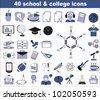 40 school and college icons black and blue - stock vector