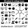 40 school and college icons in black - stock vector