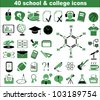 40 school and college icons in green - stock vector