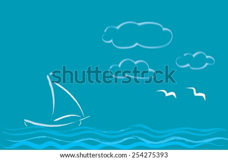 Sea romance. White sailboat floats on the waves.