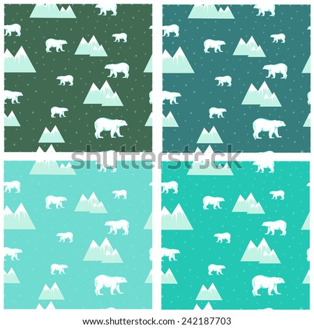 4 seamless backgrounds colored icebergs and polar bears and snowflakes vector