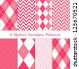 8 Seamless Chevron and Argyle Patterns in Hot Pink, Pink and White. Pattern Swatches Included. Global colors - makes it easy to change all patterns in one click. Modern Valentine Day Backgrounds. - stock vector