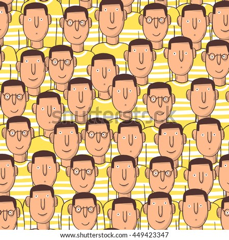 Seamless decor pattern of people. Sketch style.