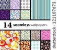 14 seamless wallpaper. Golden collections. - stock vector