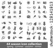 64 season icon collection - stock vector