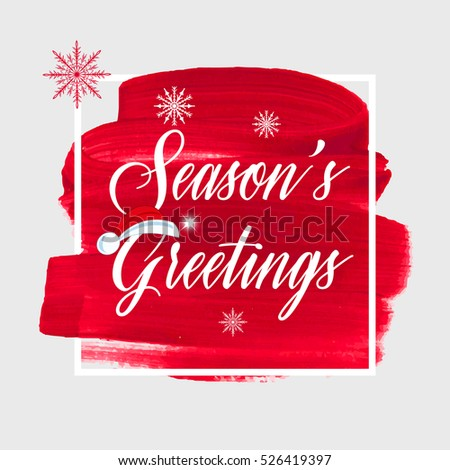 Seasons Greetings Holiday Sign Text Over Abstract Red Brush Paint Background Vector Illustration