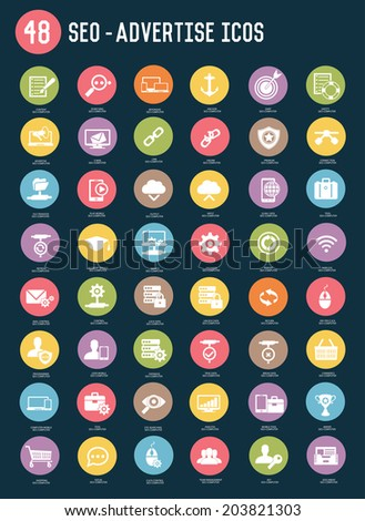 48 SEO and Advertise flat icons,colour vector