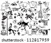 set of  cartoon animals,black and white vector pictures isolated on white background,children illustration for little kids - stock vector