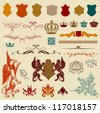 Set of Vector vintage design elements - stock vector