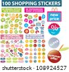 100 shopping stickers, labels, sales icons set, vector - stock vector