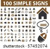 100 simple signs. vector - stock vector