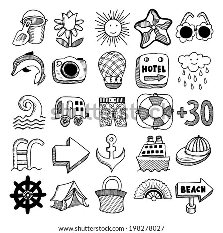 25 sketch icon set of summer theme, vector illustration