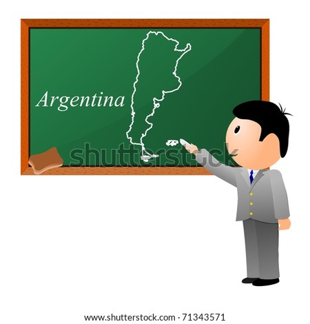 Small Boy Drawing On Blackboard Map Stock Vector - Argentina map small