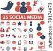 25 social media icons, signs, vector - stock vector