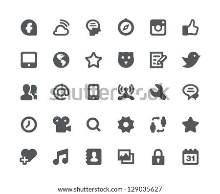 30 Social media network minimalistic and simple icons