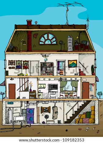 3-story old house cartoon cross section with basement