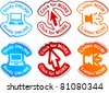 """Study online"", ""click for more"", ""listen now""  vector stickers. - stock vector"