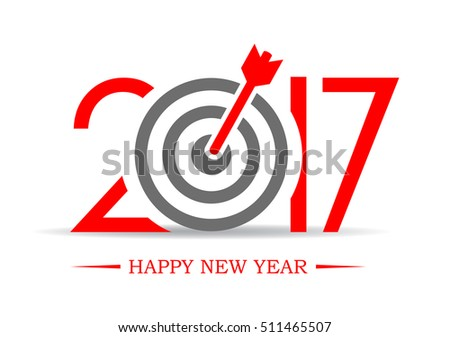 2017 successful new year greeting symbol vector illustration isolated on white background. Goal target idea with 2017 greeting card. Happy new year 2017 concept.