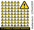 72 symbols triangular warning hazard. Big yellow set - stock vector