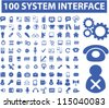 100 system interface icons set, vector - stock vector