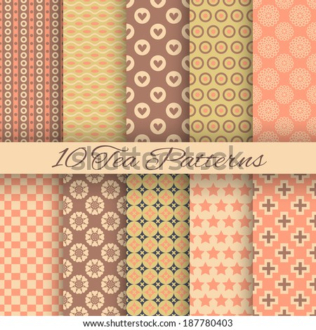 10 Tea abstract vector seamless patterns (tiling, with swatch). Endless texture can be used for wallpaper, fill, web background, texture. Set of shabby geometric ornaments. Vintage colors.