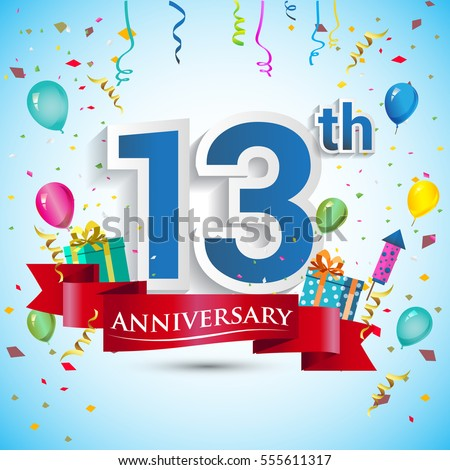 13 Years Anniversary Celebration Logo Gift Stock Vector
