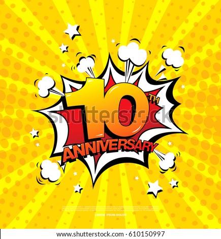 10th Anniversary Emblem Ten Years Anniversary Stock Vector 610151003