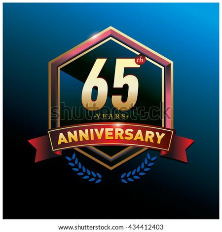 65th anniversary logo with gold ring and red ribbon. Anniversary signs illustration. Gold anniversary logo design and illustration