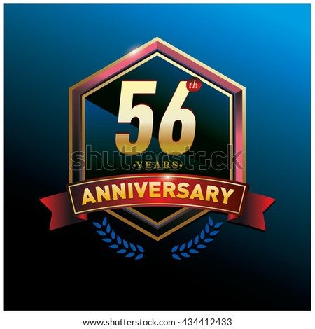 56th anniversary logo with gold ring and red ribbon. Anniversary signs illustration. Gold anniversary logo design and illustration
