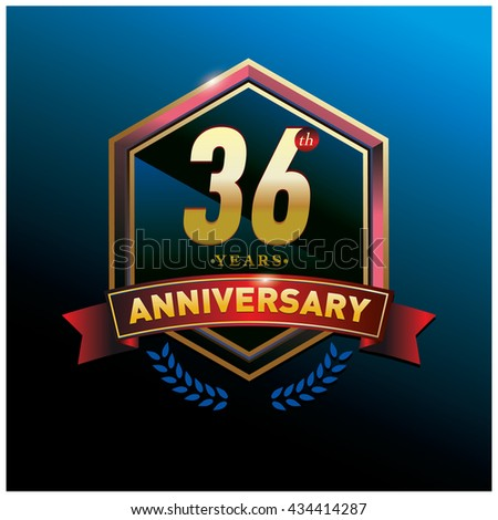 36th anniversary logo with gold ring and red ribbon. Anniversary signs illustration. Gold anniversary logo design and illustration