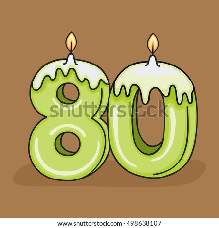 80th  Birthday Candle Number .Vector design template elements for your birthday celebration.