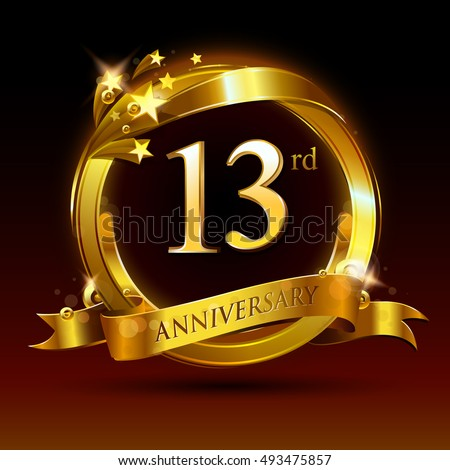 13th golden anniversary logo, 13 years anniversary celebration with ring and ribbon.
