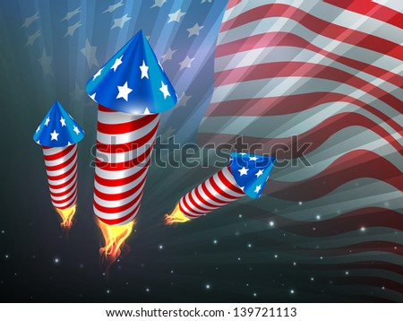 4th of July, American Independence Day celebration background with fire cracker.