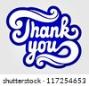 'thank you' hand lettering - stock vector